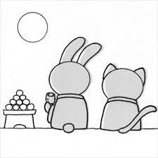 お月見7のイラスト素材 日本福祉パステルアート協会