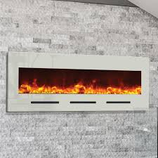 amantii wall mount flush mount 50 inch electric fireplace with white glass surround