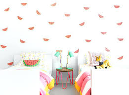 pink and green wall decals with pink and yellow kids room with watermelon wall decals pink