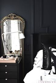 black nightstand with mirror by christine dovey this set is inspiring and the mirror is a great idea for add some drama to any interior added drama mirrored bedroom furniture
