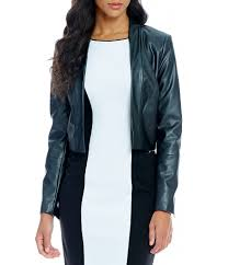 black jackets calvin klein long sleeve faux leather