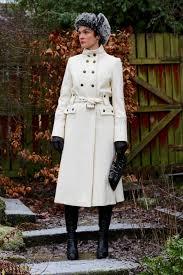 fake fabulous white statement winter coat military style a fur