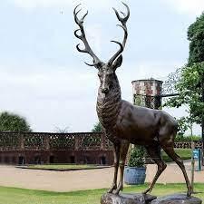 life size bronze deer garden statue
