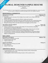Floral Designer Resume Sample - Best Resume Collection