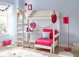 tinsley pink and white highsleeper with desk room set view
