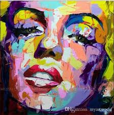 2018 framed palette knife portrait marilyn monroe face genuine hand painted wall decor pop art oil painting high quality canvas multi sizes mei from