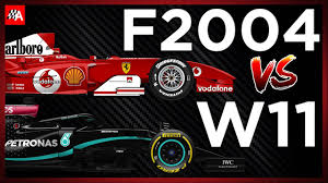 The f2004 represents a further step forward in the history of ferrari's single seaters. Comparing The Ferrari F2004 Vs Mercedes W11 2020 Formula 1 Car Youtube