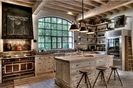 farmhouse kitchen industrial pendant. distressed woods rustic modern farmhouse kitchen with wooden island and drawers stools industrial pendant lighting