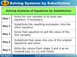 hw 7 solve systems of equation using the substitution method