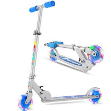 Razor Scooter Light Up Wheels Replacement Folding Kick Scooter For Girls Boys Safety Certified 3 Adjustable Height Light Up Wheels For Kids