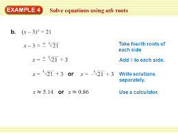 example 4 solve equations using nth roots b x 3 4