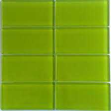 Bright Green Glass Subway Tile in Lemongrass | Modwalls Designer Lush 3x6  Tile