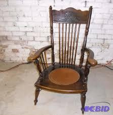 vintage wood chair carved with tooled leather seat tlc repair end of summer k bid
