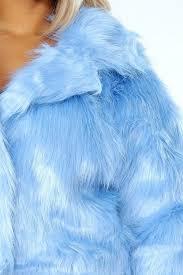 blue faux fur cropped jacket baby coat hm