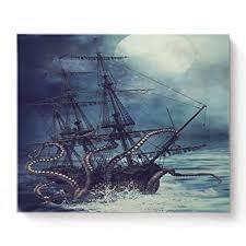Canvas Print Wall Art Kraken Octopus Monster Pirate ... - Amazon.com