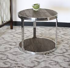 et357la round reclaimed wood end table with polished chrome steel base