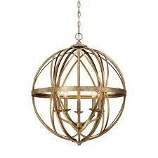 sphere lighting fixture. Lakewood Collection 5-Light Vintage Gold Sphere Pendant Lighting Fixture