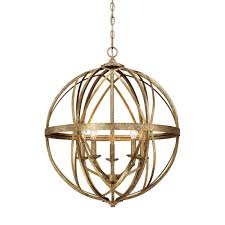lakewood collection 5 light vintage gold sphere pendant