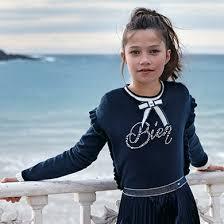 <b>Свитер</b> с воланами для <b>девочки</b> Темно-синий - <b>Майорал</b>