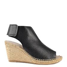 black leather wedge sandal hover over image to zoom