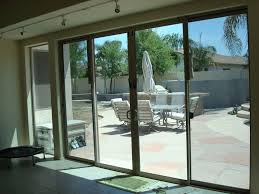 Decorations : Triple Shape Sliding Glass Door With Brown Wooden ...