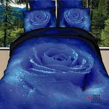 unique blue rose bedding set wedding 3d bedclothes girls queen size duvet quilt cover pillowcase and flat bed sheet sets full size bedding bedroom comforter