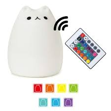 Amazon Child Night Light Cute Kitty Led Children Night Light Kids Silicone Cat Lamp 7 Color Flashing Usb Rechargeable Lighting