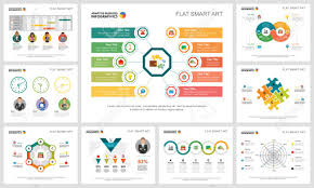 Consulting Charts Colorful Analytics Or Consulting Concept Infographic Charts Set