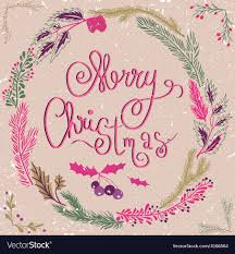 Pink Christmas Card Merry Christmas Card Christmas Wreath Christmas Vector Image