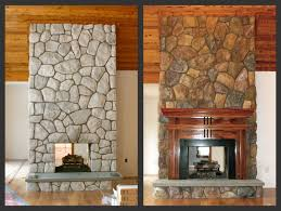 color washed faux fieldstone finish on cultured stone fireplace