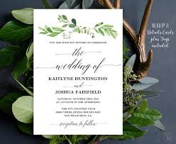 Wedding Invitation Templates With Photo Greenery Wedding Invitation Printable Garden Greenery