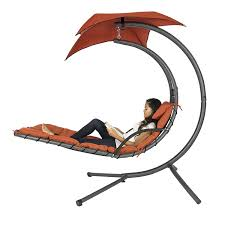 com best choice s hanging chaise lounger chair arc stand air porch swing hammock chair canopy red orange garden outdoor
