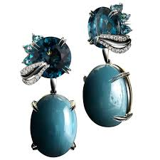 alexandra mor london blue topaz aquamarine cabochon medi leaf dangling earrings for