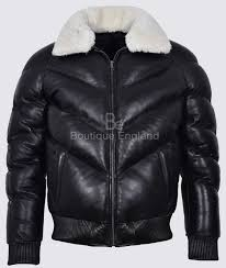 ace men s puffer black real leather jacket white shearling collar winter warm