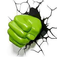 3dlightfx Marvel Avengers Hulk Fist 3d Deco Light Marvel Plastic 3d Hulk Fist Childrens Wall Lamp Multicolor
