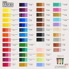 Liquitex Basics Acrylic Paint Color Chart