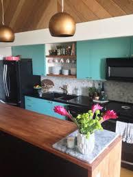 Modern Vintage Kitchen Makeover Kitchen Makeover With Teal Cabinets Best Modern Vintage Kitchen