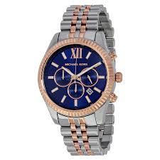 michael kors lexington chronograph navy dial two tone unisex watch zoom