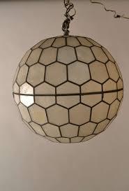 mid century modern sphere capiz shell ball chandelier by feldman lighting for