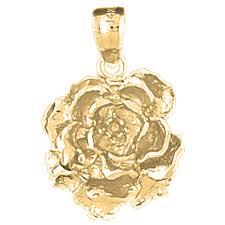 14k gold rose flower pendant yellow white or