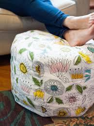 Furniture: Interesting Orange Knit Pouf Ottoman Ideas For Boys Bedroom - Diy  Pouf Ottoman