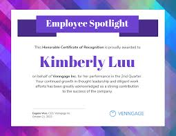 Employee Of The Quarter Certificate Employee Spotlight Certificate Of Recognition Template