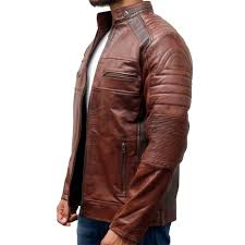 distressed cafe racer motorcycle vintage leather jacket zoom distressed
