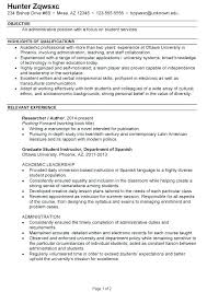Cv Examples Administration Resume Template Administrative For Position Cv Examples Assistant