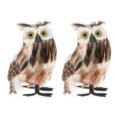 2pc Artificial Feather Furry Realistic Owl Taxidermy Home Garden Decor Brown Ebay