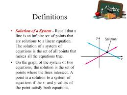 definitions solution of a system recall that a line is an infinite set of points