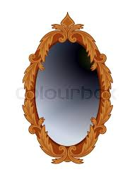 antique oval mirror in carved wooden frame isolated on white stock vector colourbox