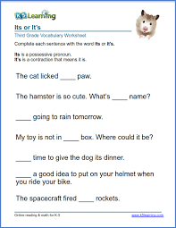 Grade 3 vocabulary worksheet - use of its or it's | K5 Learning