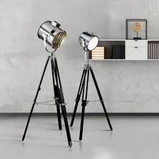 Stage Light Chrome Floor Lamp With Stylish Shade Lighting From