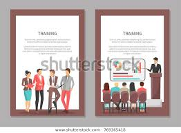 Training Posters Set People Discussing Important Stock
